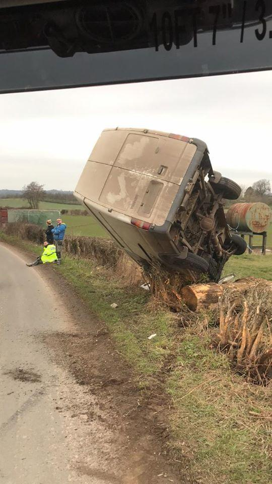 Crashed van at Staplow, Herefordshire. Picture: Ledbury fire station