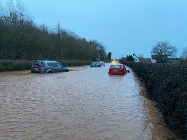 Flooding on the A49 near OK Diner, Leominster.