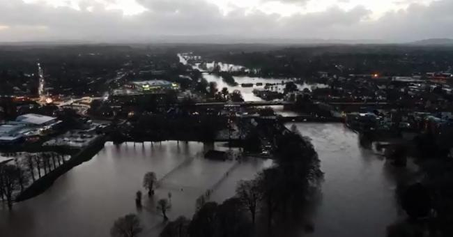 Drone footage shows scale of flooding. Picture: Will Mears