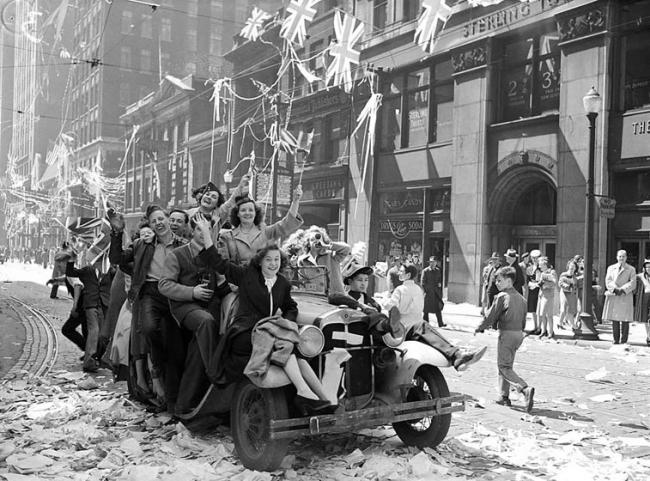 Celebrations for VE (Victory in Europe) Day in 1945.