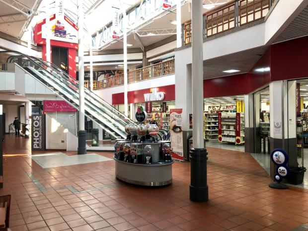 Hereford Times: Quiet in Maylord shopping centre, Hereford, on Tuesday, March 24, in response to the Government's coronavirus lockdown guidance. Picture: Rob Davies