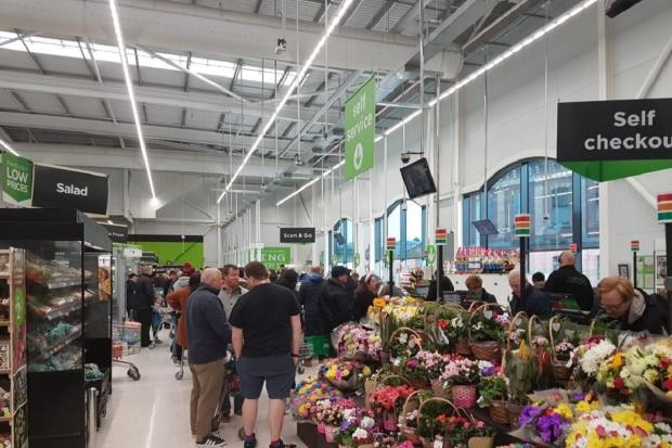 CRAMMED: The queues at Worcester's ASDA