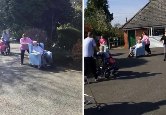Residents and staff at Summerdyne Care Home in Bewdley 'do the conga' to lift spirits during the coronavirus lockdown