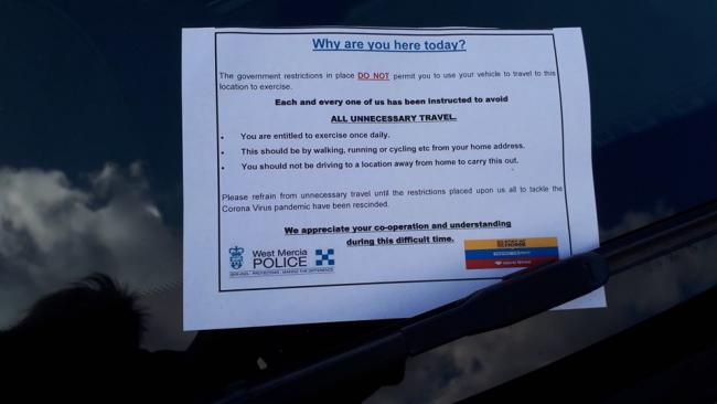 One of the letters left on a car at Aylestone Park in Hereford