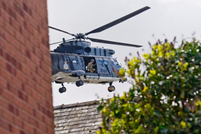 A Puma helicopter comes in to land in Hereford. Photo: Stu Lane