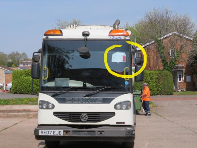 Thank-you note (circled) for binmen in Sandown Drive, Bobblestock, Hereford. Picture: Lou Atkinson