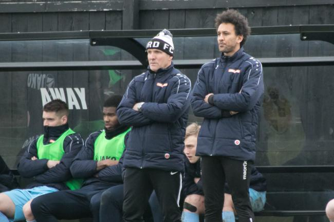 The Hereford management team of Josh Gowling (right) and Steve Burr. Picture: Andy Walkden/Hereford FC