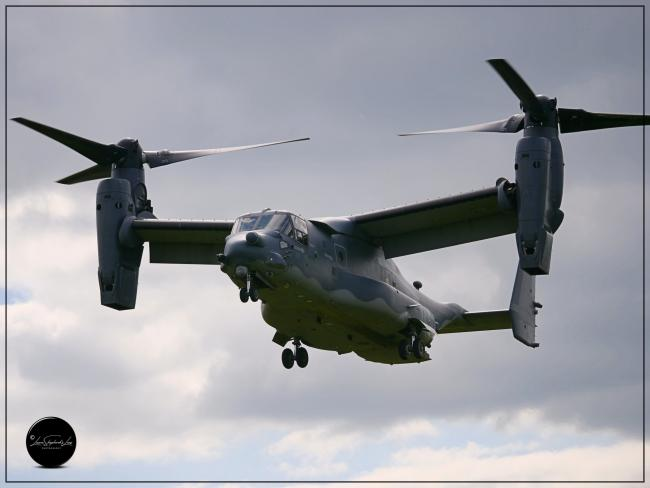 Bell Boeing Osprey aircraft at Shobdon airfield, Herefordshire. Picture: Laura Shepherd