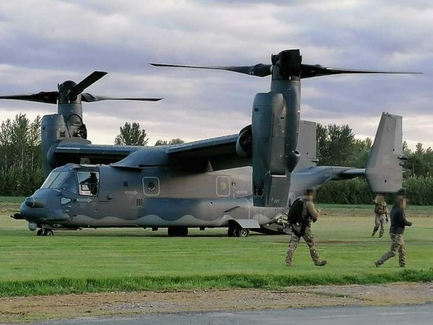 Hereford Times: Bell Boeing Osprey aircraft at Shobdon airfield, Herefordshire. Picture: Donna Davies