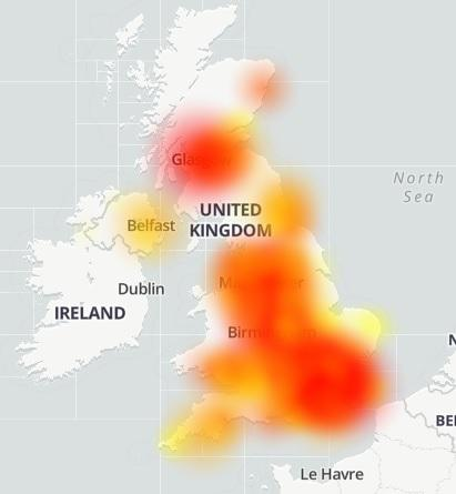 Hereford Times: Outage: Sky Broadband is down across much of the UK, according to Downdetector. Picture: Downdetector