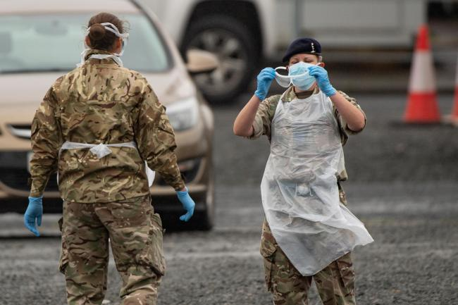 The mobile coronavirus testing centre at Hereford's Merton Meadow car park. Picture: PA Wire/Jacob King
