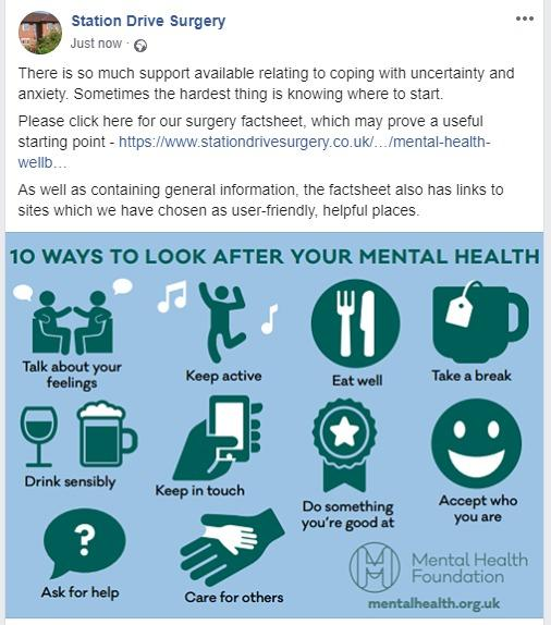 Some advice on looking after mental wellbeing.