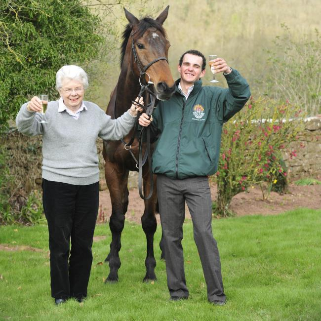 File photo dated 05-04-2009 of Grand National winner Mon Mome with winning jockey Liam Treadwell and owner Vida Bingham at Venitia Williams Stables, Kings Cable, Hereford. PA Photo. Issue date: Tuesday June 23, 2020. Grand National-winning jockey Liam Tre