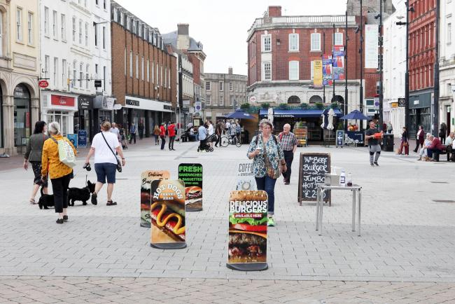 Hereford slowly comes back to life after lockdown...Pic is. High Town..