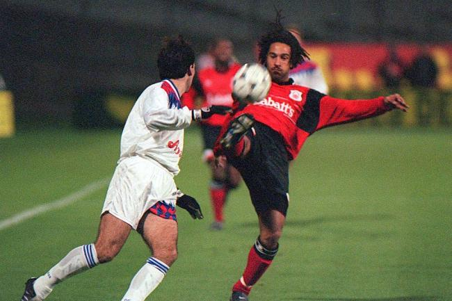 Jason Lee, right, in action for Nottingham Forest in the 1990s