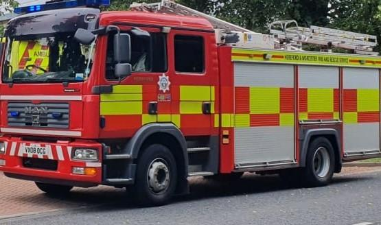 Firefighters from Hereford were called to tackle the blaze