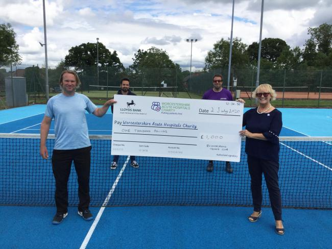 Left to right: James Griffiths, Head Coach at Bromsgrove Tennis Club; Ashley Rutter of Solid Soul Fitness; Luke Pettit, Bromsgrove Tennis Club Coach; Nicky Langford, Community Fundraising Officer of Worcestershire Acute Hospitals NHS Trust.
