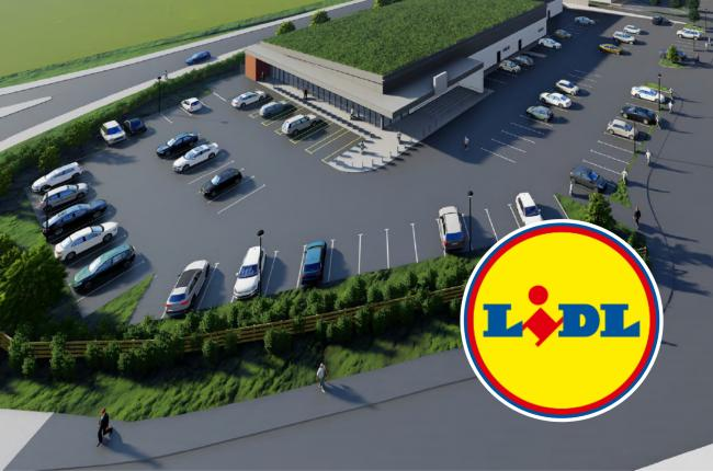 How the new Lidl would look on land south of Leadon Way and east of Dymock Rod in Ledbury. Picture: Corstone+Wright Architects