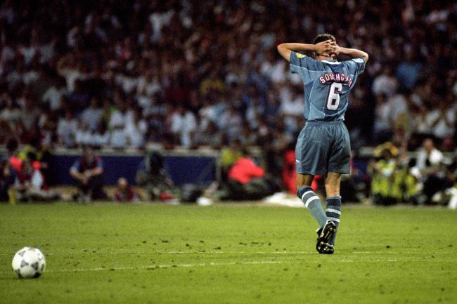 Gareth Southgate walks away after his Euro 96 miss