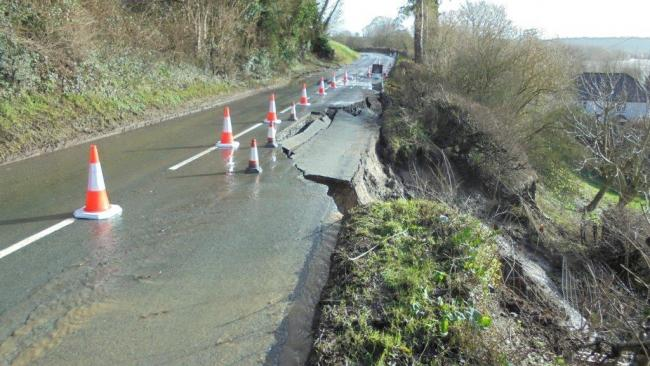 The B4224 road, from Fiddler's Green to Fownhope, was severely damaged by Storm Dennis in February with a substantial part of the carriage way collapsing.