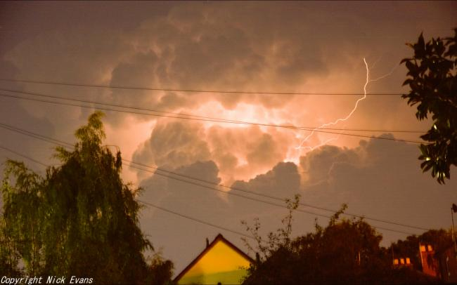 Lightening over Hereford city centre,  these were taken from Moorfield street