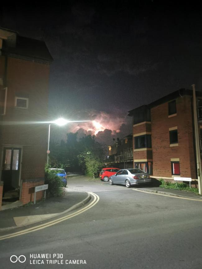 Flashes of lightning in Hereford