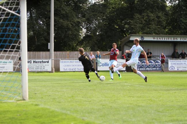 Richard Greaves scores for Westfields against US Portsmouth. Picture: Matt Cale