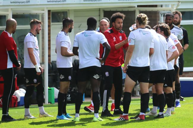 Josh Gowling talking to his squad during their 2-0 win over TNS on Saturday. Picture: Steve Niblett/Hereford FC