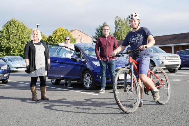 The Hereford Times reporters who competed against each other in a race from Belmont Road to Hereford bus station, from left, Theresa Brandeberry, Philippa May, James Thomas and Ben Goddard. Picture: Rob Davies