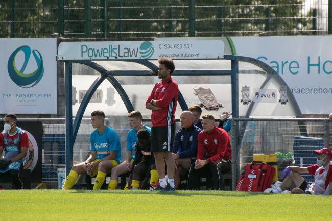 Josh Gowling watches his side during their 2-0 loss at Weston-Super-Mare. Picture: Andy Walkden/Hereford FC