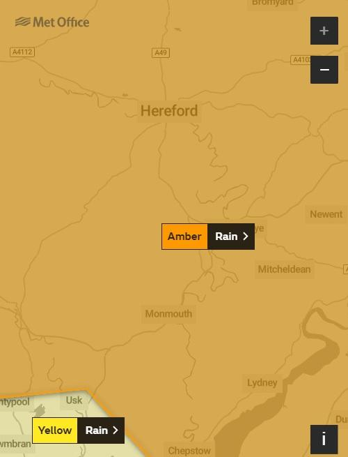 Amber rain warning for Herefordshire. Graphic: Met Office