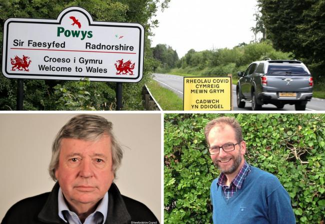 Councillors on either side of the Welsh border (Terry James, left, and James Gibson-Watt, right) have had their say on travel restrictions which will be put in place by the Welsh Government from Friday