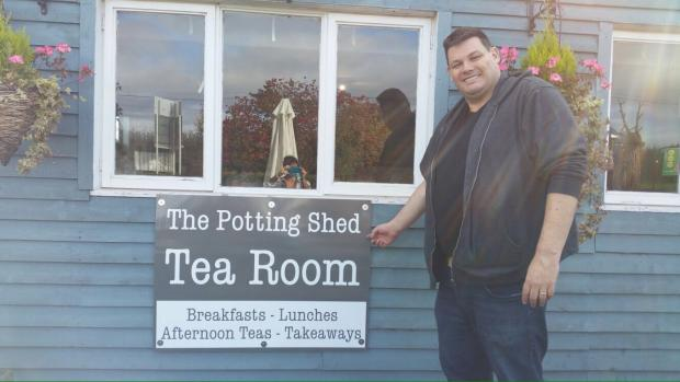 Hereford Times: Mark Labbett, also known as the Beast on the Chase, at the Potting Shed Tearoom at Radway Garden Centre.