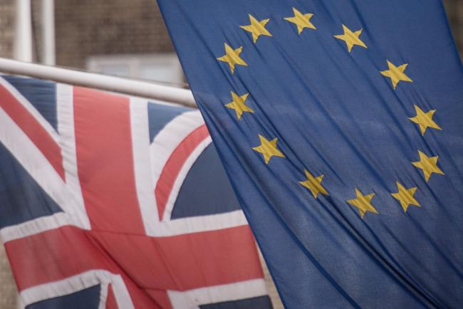 File photo dated 17/02/16 of the EU and Union flags.