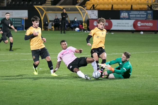 Andrai Jones in action for Hereford has left the club along with Jake Wright. Picture: Andy Walkden/Hereford FC