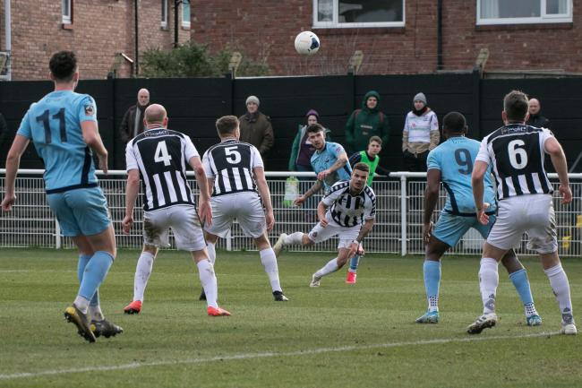 Kyle Finn whips a ball into the Spennymoor box. Picture: Andy Walkden/Hereford FC