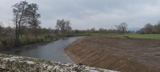 Hereford Times: The scene after the riverbank was bulldozed. Picture: Herefordshire Wildlife Trust