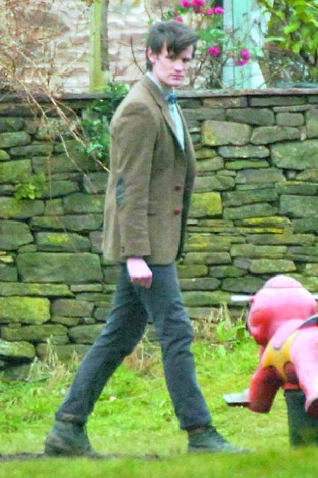 Matt Smith filming Dr Who in Skenfrith.