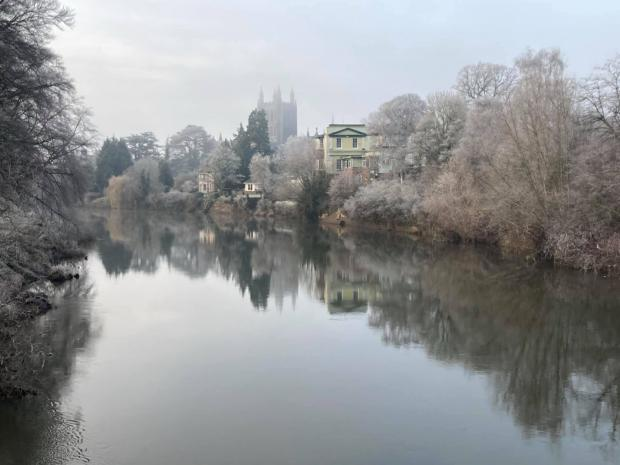 Hereford Times: A chilly scene on the Wye in Hereford today. Picture: Marnie Wooderson