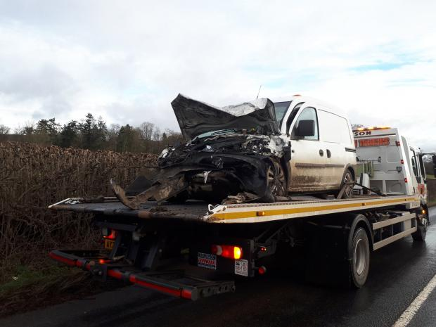 Hereford Times: A van being towed from the scene this morning. Photo: Leominster SNT
