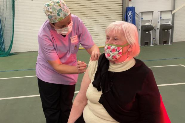 Hereford Times: 86-year-old Wendy Mantle was one of the patients given the coronavirus vaccine at Leominster's Bridge Street Sports Centre on Thursday