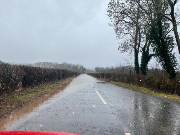 Hereford Times: Flooding on the Bromyard to Ledbury road at Stalow. Picture: James Thomas