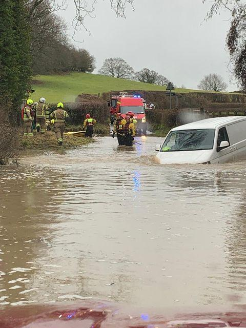Hereford Times: Firefighters were called to the rescue after a van attempted to cross a ford near Eastnor. Photo: Paige Brown