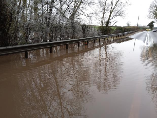 Hereford Times: Flooding on the A49 in Herefordshire. Photo: Highways England