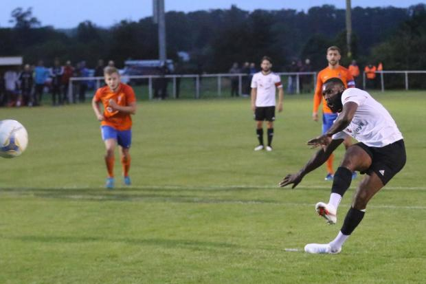 Hereford Times: Lenell John-Lewis saw his first half penalty saved for Hereford. Picture: Steve Niblett/Hereford FC