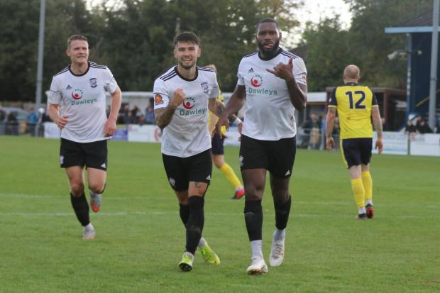 Hereford Times: Lenell John-Lewis celebrates in Saturday's 3-1 win at Gosport Borough. Picture: Steve Niblett/Hereford FC