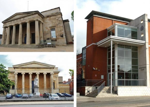 Hereford Times: Courts in Hereford and Worcester, clockwise from top left, Hereford Crown Court (the Shirehall), Hereford Magistrates Court, and Worcester Crown Court