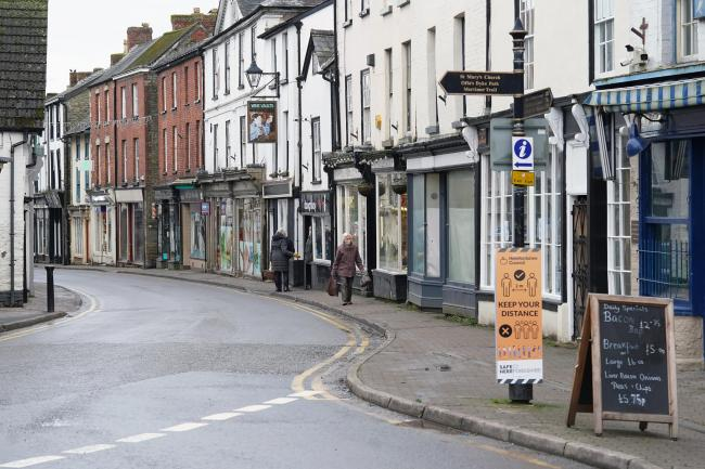 The coronavirus infection rate for Herefordshire is at its lowest point since mid-December as Herefordshire enters the fifth week of the third lockdown. Pictured is Kington High Street. Picture: Rob Davies