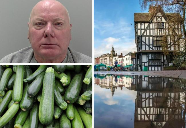Geoffrey Chambers was caught with a courgette down his leggings in High Town, Hereford Crown Court has heard