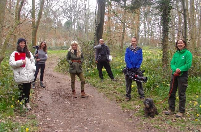The Countryfile film crew with Kate Wollen, FE assistant ecologist. Photo: DyFRA
